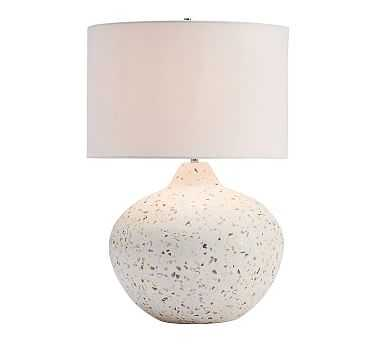 Capri Terrazzo Round Table Lamp with Extra Large Straight Sided Gallery Shade, White - Pottery Barn