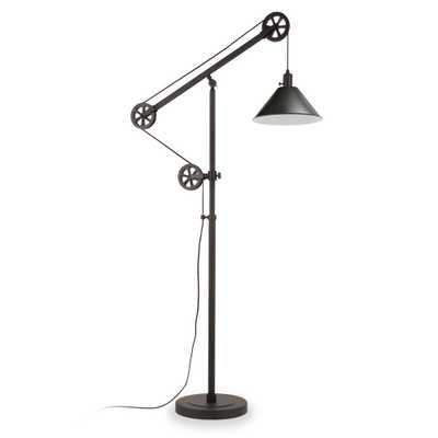 Hudson&Canal Descartes 70 in. Blackened Bronze Floor Lamp with Pulley System - Home Depot