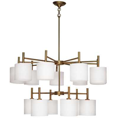 Jamie Young Company Ellis Two Tier Chandelier in Antique Brass with White Linen Shades - Perigold