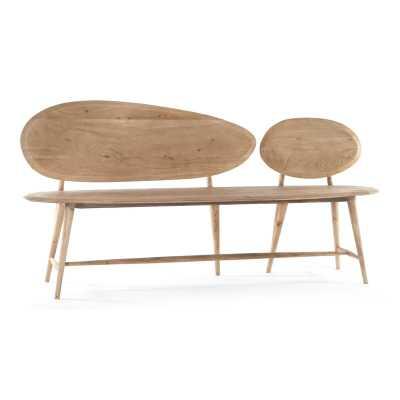 Sarreid Ltd Pebble Wood Bench Color: Beige - Perigold