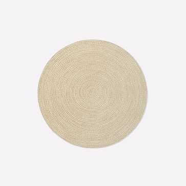 Woven Cable All Weather Rug, 6' Round, Natural - West Elm