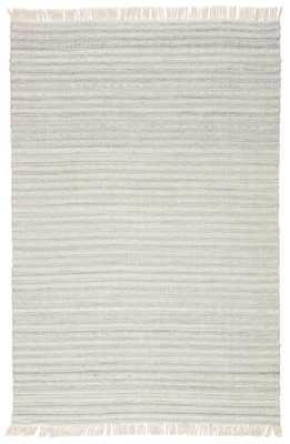 Torre Indoor/ Outdoor Solid Light Gray/ Cream Area Rug (8'X10') - Collective Weavers