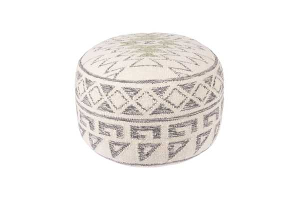 """20"""" Round Wool Blend Kilim Pouf - Nomad Home"""