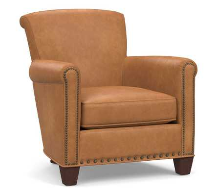 Irving Roll Arm Leather Armchair with Bronze Nailheads, Polyester Wrapped Cushions Churchfield Camel - Pottery Barn