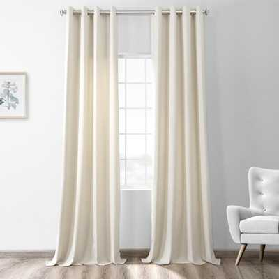 Exclusive Fabrics & Furnishings Creamy Ivory White Thermal Room Darkening Heathered Italian Woolen Weave Grommet Curtain - 50 in. W x 84 in. L (1 - Home Depot