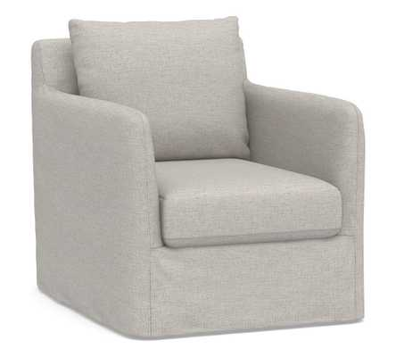 Bennett Slipcovered Swivel Armchair, Polyester Wrapped Cushions, Heathered Twill Stone - Pottery Barn
