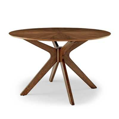 MODWAY Crossroads 47 in. Walnut Round Wood Dining Table, Brown - Home Depot