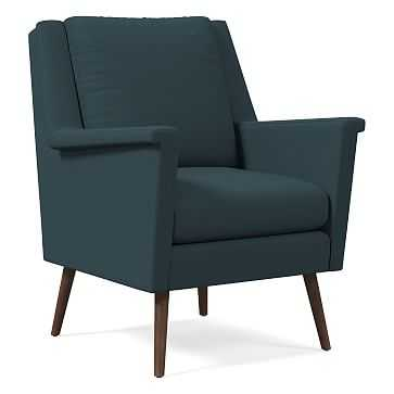 Carlo Mid-Century Chair, Poly, Twill, Teal, Pecan - West Elm