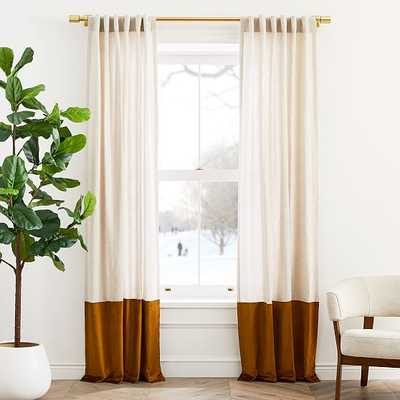 "Belgian Flax Linen & Luster Velvet Curtain, Natural & Golden Oak, 48""x108"" - West Elm"