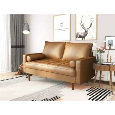 """Lipford 58"""" Wide Faux Leather Square Arm Loveseat - Wayfair"""