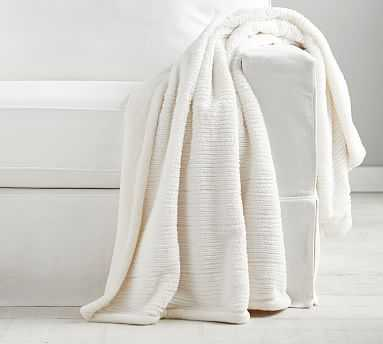 """Braided Ribbed Faux Fur Throw, 50 x 60"""", Ivory - Pottery Barn"""