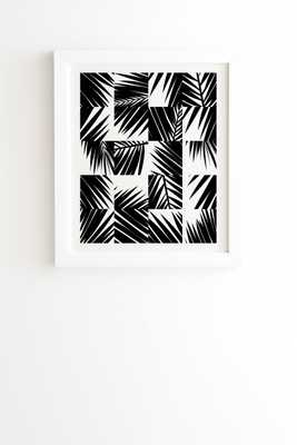 "Palm Leaf Pattern 03 Black by The Old Art Studio - Framed Wall Art Basic White 30"" x 30"" - Wander Print Co."