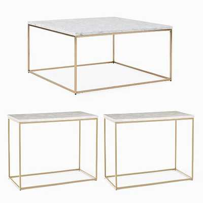 Streamline Square Coffee Table & 2 Side Tables Set, Marble, Light Bronze - West Elm