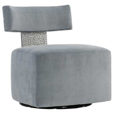 Elsie Modern Classic Grey Upholstered Stainless Steel Accent Swivel Chair - Kathy Kuo Home