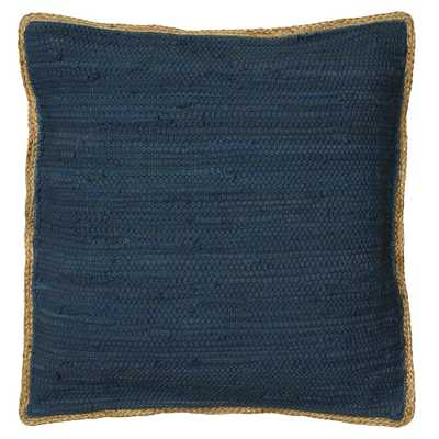 LR Home Solitaire Navy Blue Woven Jute Border Cozy Poly-fill 20 in. x 20 in. Throw Pillow - Home Depot