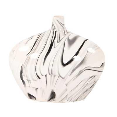Howard Elliott Collection Porcelain Oblong White and Black Swirl Vase, Small - Home Depot
