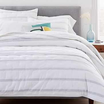 Washed Cotton Reversible Melange Stripe Quilt, Full/Queen, Heather Gray - West Elm