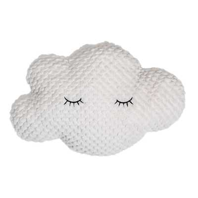 Polyester White Cloud Pillow with Eyelashes - Moss & Wilder