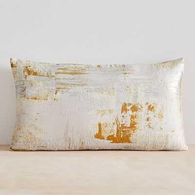 "Painterly Brocade Pillow Cover, 12""x21"", Dark Horseradish - West Elm"
