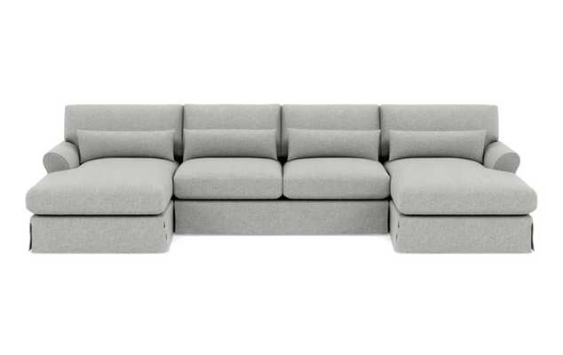 Maxwell Slipcovered U-Sectional with White Vanilla Fabric, extended right chaise, extended left chaise, and Oiled Walnut with Brass Cap legs - Interior Define