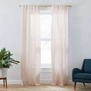 "Sheer Belgian Flax Linen Curtain, 48""x96"", Dusty Blush, Set of 2 - West Elm"