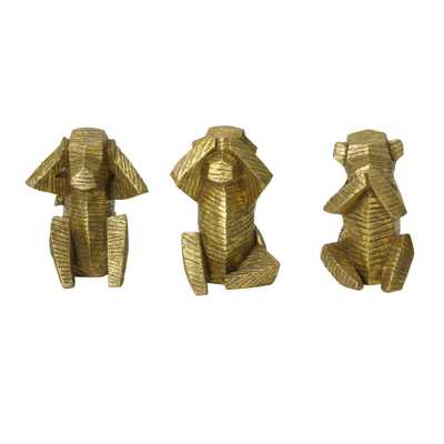 Stratton Home Decor Set of 3 Wise Monkey Tabletop Sculptures, Gold - Home Depot