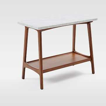 Reeve Side Table Long Narrow, Marble/Walnut - West Elm
