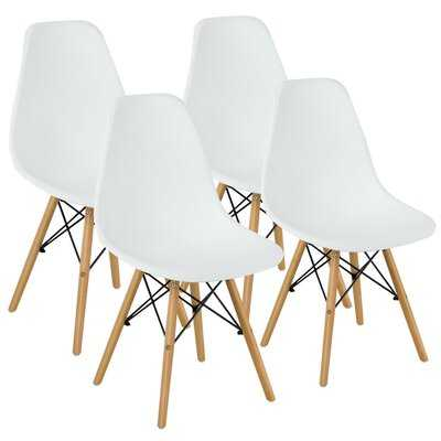 George Oliver Set Of 4 Modern Dining Side Chairs Armless Home Office W/ Wood Legs White - Wayfair
