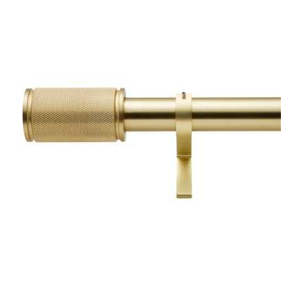 "Brushed Brass Amp Finial Curtain Rod Set 48""-88""x1.25""Dia. - CB2"