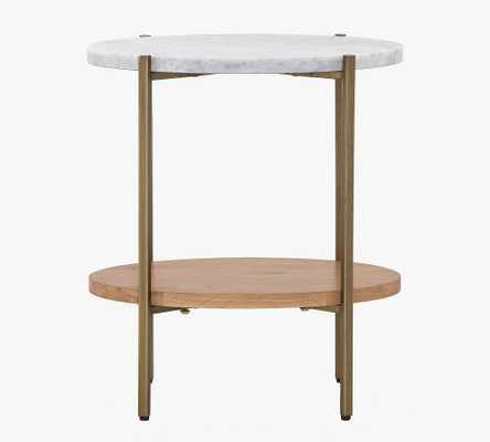 "Modern Oval Marble Side Table, Natural Oak & Golden Brass, 20""L - Pottery Barn"