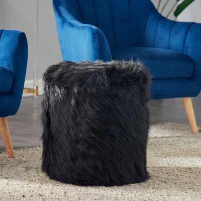 Carminna Black Faux Fur Round Accent Stool with Storage - Style # 81A56 - Lamps Plus