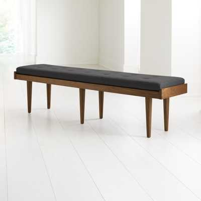 Tate Walnut King Bench with Charcoal Cushion - Crate and Barrel