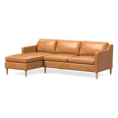 "Hamilton Sectional Set 08: Right Arm 63"" Sofa, Left Arm Chaise, Poly, Charme Leather, Burnt Sienna, Almond - West Elm"