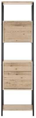 Gabrielle Retro Mid Century Wood Etagere - Oak/Black - Arlo Home - Arlo Home