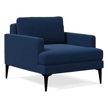 Andes Chair, Astor Velvet, Ink Blue, Dark Pewter - West Elm