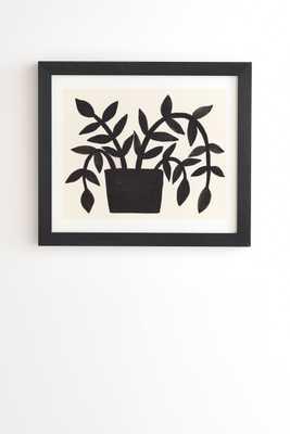 "Black Painted Plant by Pauline Stanley - Framed Wall Art Basic Black 30"" x 30"" - Wander Print Co."