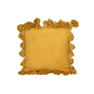 3R Studios Square Cotton Woven Pillow with Tassels, Mustard, Yellow - Home Depot