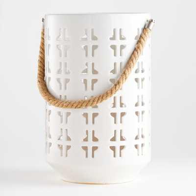Calas Large White Ceramic Lantern - Crate and Barrel