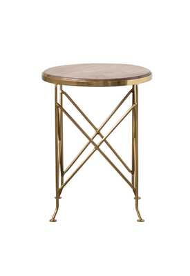 Brown Mango Wood Side Table with Gold Metal Legs - Nomad Home