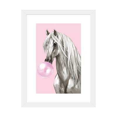 White Horse with Bubble Gum in Pink by Big Nose Work - Graphic Art Print - Wayfair