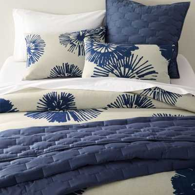 Haana King Blue Floral Duvet Cover - Crate and Barrel