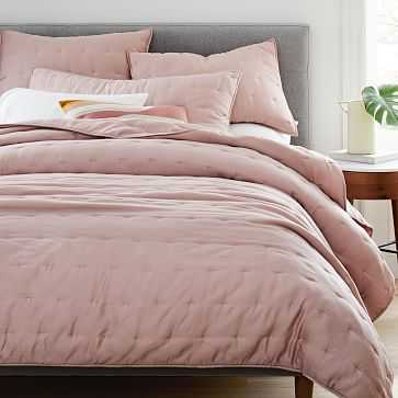 TENCEL(TM) Crescent Stitch Quilt, King, Adobe Rose - West Elm