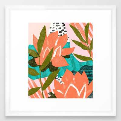 If I Had A Flower For Every Time I Think About You, I Could Walk Forever In My Garden Framed Art Print by 83 Orangesa(r) Art Shop - Vector White - MEDIUM (Gallery)-22x22 - Society6