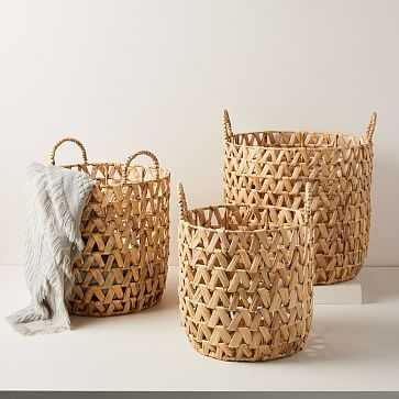 Open Weave Zigzag Baskets, Set of 3, Small, Medium, Large, Hamper - West Elm