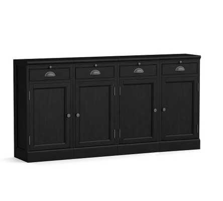 """Modular Bar 72"""" Buffet (4 Wood Cabinet Base), Black - Pottery Barn"""
