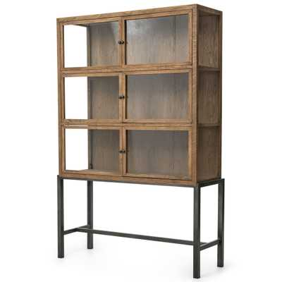 Hazel Creek Industrial Loft Natural Oak Iron Base Display Cabinet - Kathy Kuo Home