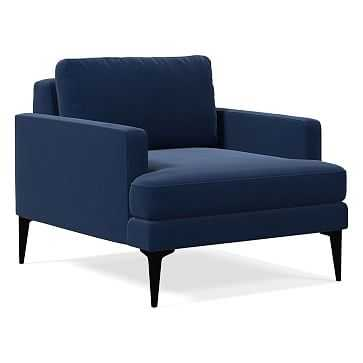 Andes Chair, Performance Velvet, Ink Blue, Dark Pewter - West Elm