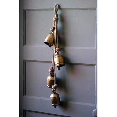 4 Piece Rustic Iron Hanging Bells with Rope Wall Décor Set - Birch Lane