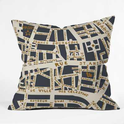 "Paris Map Grey Gold by Holli Zollinger - Outdoor Throw Pillow 16"" x 16"" - Wander Print Co."
