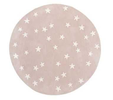 Starry Skies Round Rug, 5 Ft Round, Blush - Pottery Barn Kids